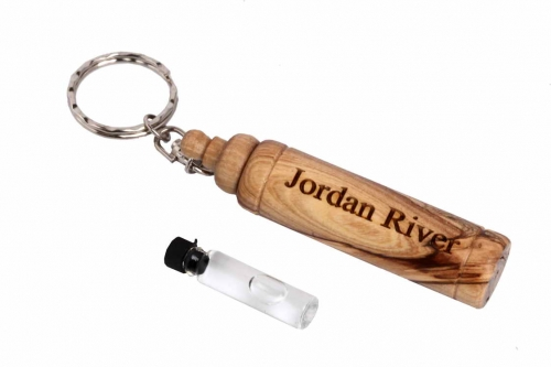 An Olive Wood Key Chain Contains Holy Water from the Jordan River