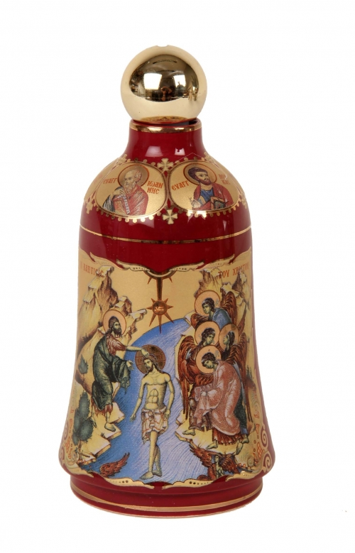 A 24K Gold Hand Painted Red Bottle contains Holy Water from the Jordan River where Jesus Christ was Baptized