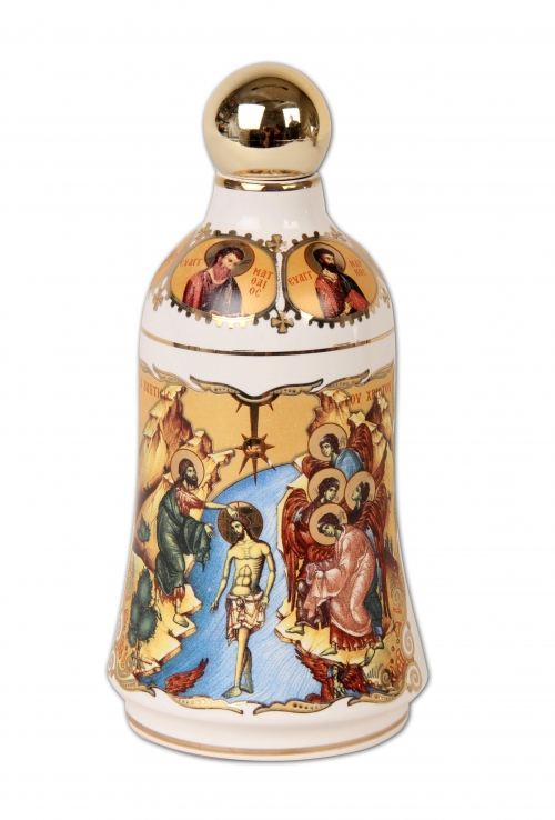 A 24K Gold Hand Painted White Bottle contains Holy Water from the Jordan River where Jesus Christ was Baptized